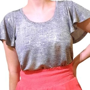 ANTHROPOLOGIE silver top S